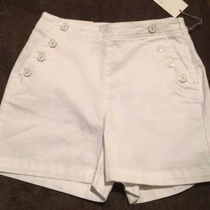 NWT White Chino Shorts w/ Pocket Button Detail